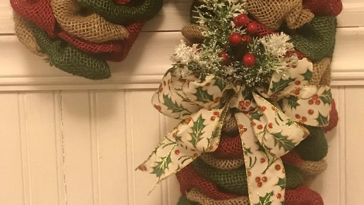 Burlap Candy Cane Wreath Class @Ridgewood Winery