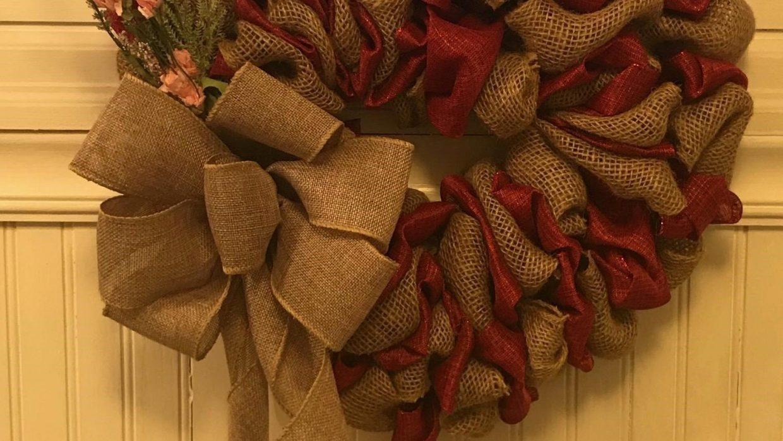 Heart Burlap Wreath Class 6:30 pm @Ridgewood Winery